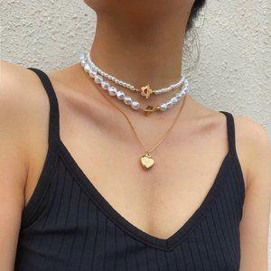3 pcs Faux Pearl Heart Decor Necklace